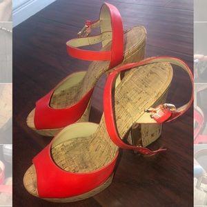 MICHAEL KORS platform leather cork heels